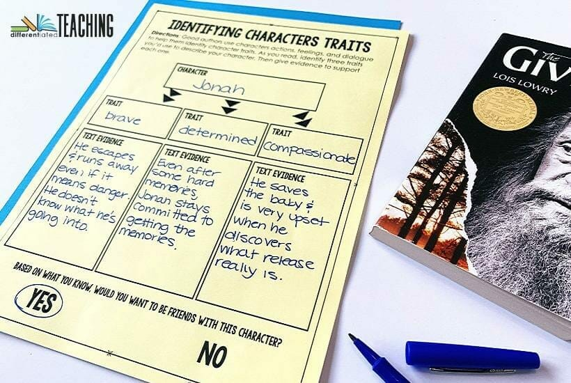 Free character traits graphic organizer for any book - Identifying Character Traits of Jonah from The Giver