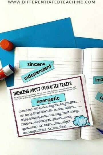 Free character trait writing task