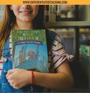 Girl with Magic Tree House Book