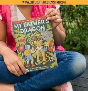 2nd Grader reading My Father's Dragon