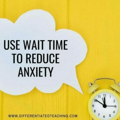 clock and speech bubble with wait time to reduce anxiety