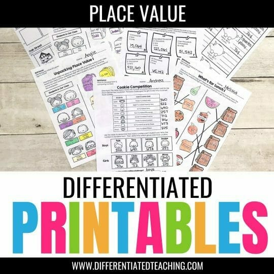 Differentiated Place Value worksheets 3rd grade